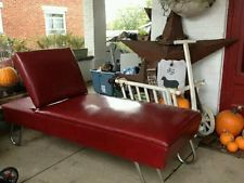 Mid Century Modern Danish Chase Lounge Couch Red Vinyl Awesome Vintage Sofas Pinterest