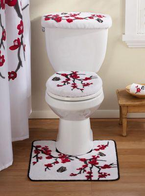 Asian Cherry Blossom Bathroom Commode