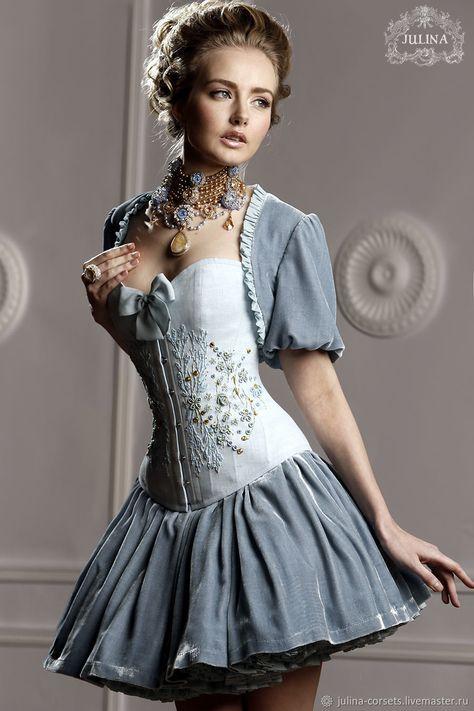 4658fe26545 Платье корсетное шелковое ручная вышивка