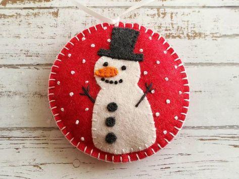 Felt Snowman ornament Red Christmas ornament Snowing   Etsy