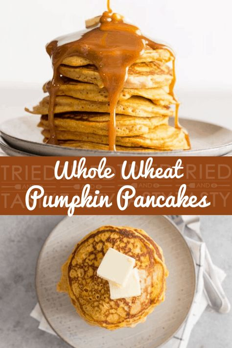 You\'ll FALL in love with these fluffy pumpkin pancakes, which are made with pumpkin puree and whole wheat flour.