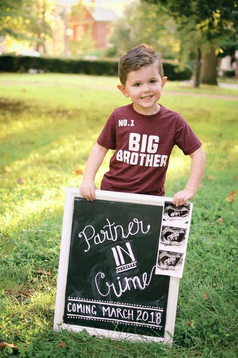 SURPRISE!!! Baby #2 Pregnancy Announcement--Partner in Crime coming March 2018 | Bright on a Budget    Big brother shirt, bump style, sibling announcement, new sibling, pregnancy news, pregnancy chalkboard lettering, chalkboard art, sonogram