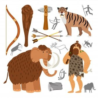 Download Free Primitive Man Cartoon With Caveman Family Dressed In Animal Pelts Eating Meat Near Their Cave Vector Freepi Stone Age Art Reference Neanderthal