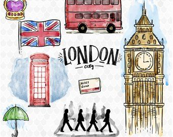 Watercolor Clipart Etsy Watercolor Clipart Clip Art London Party