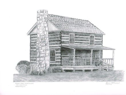 Mountain Log Cabin Drawing Lake Cabin Drawing Cabin Art Lake