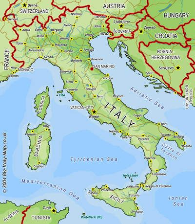 Italien Geografiske Kort Over Italien Mapa Da Italia Calabria