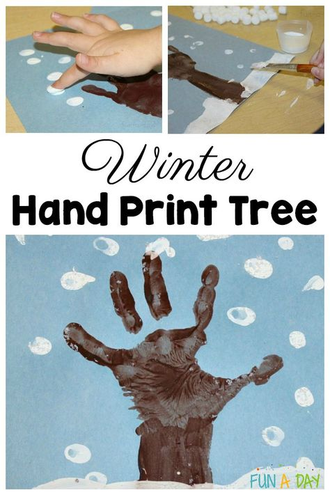 Let the kids use their hands to make this easy winter hand print tree art! A simple winter craft for preschoolers to make using their hand prints. art design landspacing to plant Preschool Projects, Daycare Crafts, Preschool Art, Art Activities For Kindergarten, January Preschool Themes, Winter Crafts For Toddlers, Winter Activities For Kids, Preschool Winter, Hand Crafts For Kids