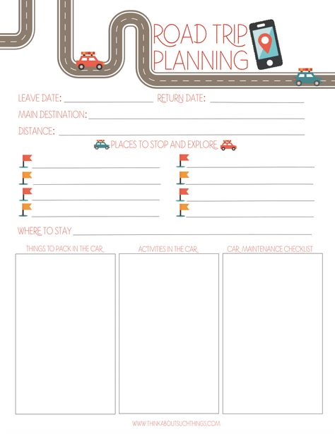 picture about Printable Road Trip Planner identified as Pinterest