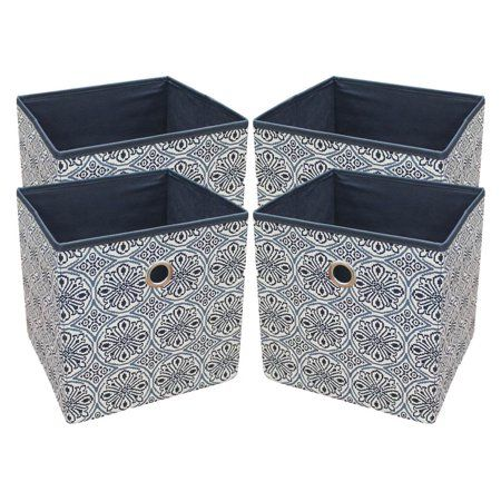 Mainstays Collapsible Fabric Cube Storage Bins 10 5 X 10 5 4 Pack Blue Medallion Walmart Com In 2020 Fabric Storage Cubes Cube Storage Cube Storage Bins