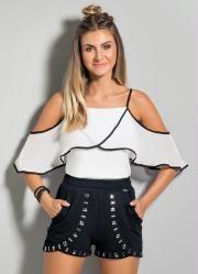 231ab7859 Blusa Ombro a Ombro com Babado (Branca e Preta) | Casual Outfits ...