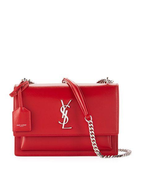 38f556e106d SAINT LAURENT | Sunset Medium Monogram YSL Crossbody Bag - Red | CAD  3,226.88 | Saint