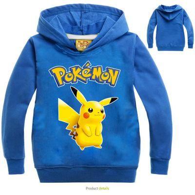 Kids Pokemon Cartoon Long Sleeve Hoodies Boy Girl Pikachu Sweatshirt Jumper Coat