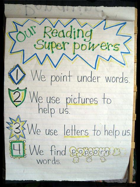 Reading Super Powers anchor chart from Mrs. Jones's Kindergarten (from Lucy Calkins Reader's Workshop for K)