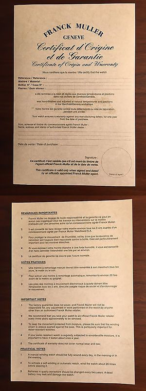 Manuals and Guides 93720 Franck Muller New Warranty Certificate - blank certificate of origin