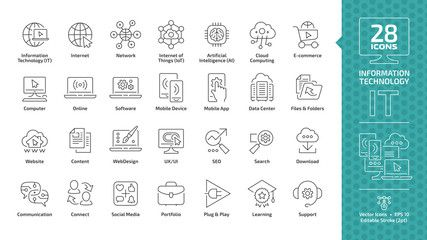 Information Technology Editable Stroke Outline Icon Set With It