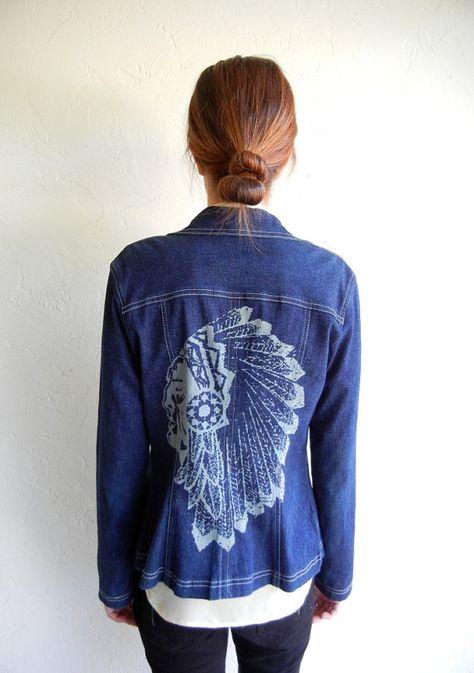 Vintage BCBG Chief Laser Print Denim Jacket by rerunvintage, $114.99