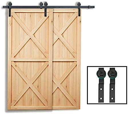 Penson Co Sdh By23 Bk 6 6 Ft Bypass Sliding Barn Hardware Double Wood Doors One Piece Rail Track Kit Black Barn Hardware Wood Doors Barn Door