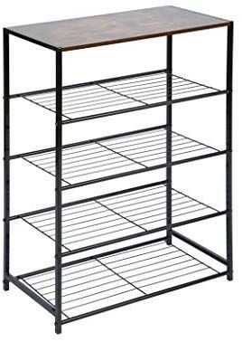 Amazon Com Homefort 5 Tier Metal Shoe Rack All Metal Shoe Tower Shoe Storage Shelf With Mdf Top B In 2020 Metal Shoe Rack Shoe Storage Shelf Shoe Organizer Entryway