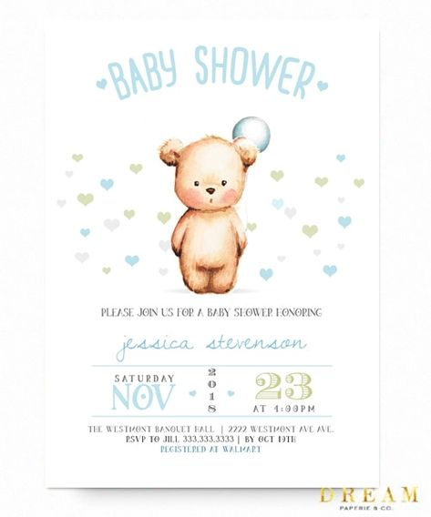 Teddy Bear Baby Shower Invitation Boy