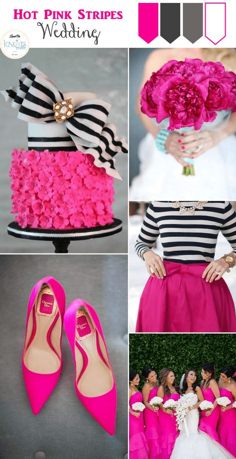 Quite a popular color/theme combination but one that never gets old. See our Hot Pink Stripes Wedding Inspiration board.