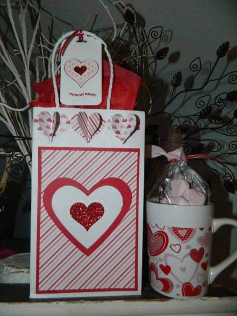 Valentine's gift bag and tag made with Stampin' UP! Heart Collection Framelits, Sweetheart Punch and more! Click photo to see video tutorial on link! Happy crafting, Dee