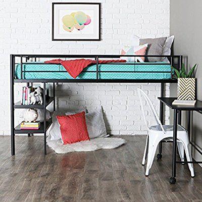 Amazon Com We Furniture Twin Low Loft Metal Bed Black Kitchen Dining Low Loft Beds Twin Loft Bed Loft Bed