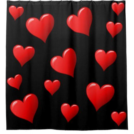 Stunning Black And Red Hearts Shower Curtain Zazzle Com Red