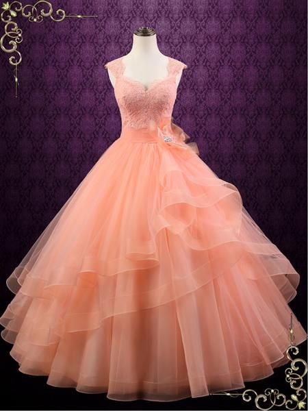 Peach Colored Ball Gown Wedding Dress Persi Peach Prom Dresses Gowns Ball Gowns