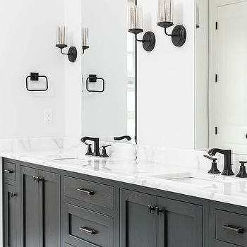 Black And White Master Bathroom With Matte Black Faucets Transitional Bathroom Matte Black Bathroom Black Bathroom Sink Black Faucet