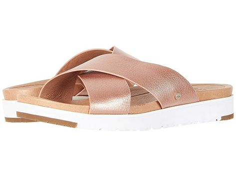 1b52624539e9 UGG Kari Metallic (Rose Gold) Women s Sandals. Don t be a wallflower show  off your charismatic style in the Kari sandal by UGG. Metallic leather  upper with ...