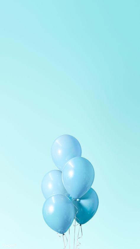 Download premium illustration of Pastel blue balloons mobile phone
