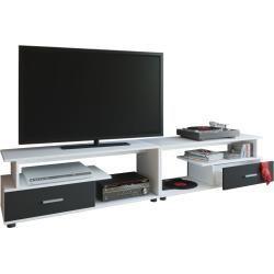 Tv Lowboard Weiss Schwarz Holz 220 Cm Breit R In 2020 Large