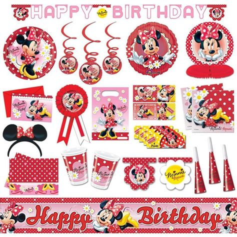 Disney MINNIE MOUSE Red Polka Dots Tableware Decorations Party Supplies PA