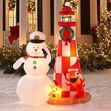 rda0327 : 7 Ft CHRISTMAS SNOWMAN LIGHTHOUSE AIRBLOWN INFLATABLE