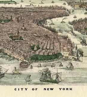 Map Of New York 1850.New York City 1850 To 1899 Bird S Eye View From The Southwest Map