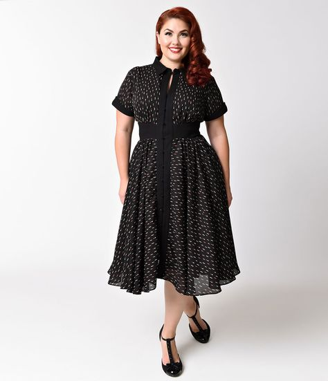 Plus Size Black Three Quarter Sleeved Whimsy Wrap Dress