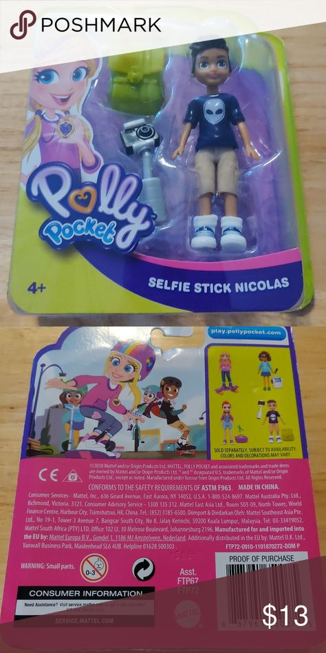 "Polly Pocket Doll Selfie Stick Nicolas Size Doll 3 1//2/"" New By Mattel"