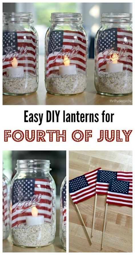 Easy DIY Fourth of July lanternsYou can find July crafts and more on our website.Easy DIY Fourth of July lanterns Fourth Of July Decor, 4th Of July Celebration, 4th Of July Decorations, 4th Of July Party, 4th Of July Ideas, Diy Summer Decorations, 4th July Food, July 4th Wedding, Memorial Day Decorations