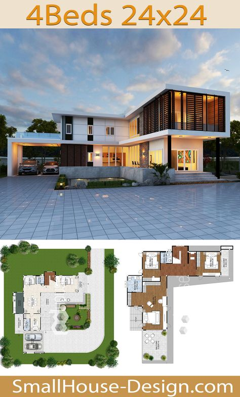 Cool House Plans 316 Square Meters 4 Bedrooms. FIRE HOME SERIES Modern Style Line F-154, 2-story house, 4 bedrooms,4 bathrooms.  Parking for 2 cars Usable area 316 square meters, Land area 144 square wah, 24 meters wide 24 meters long.