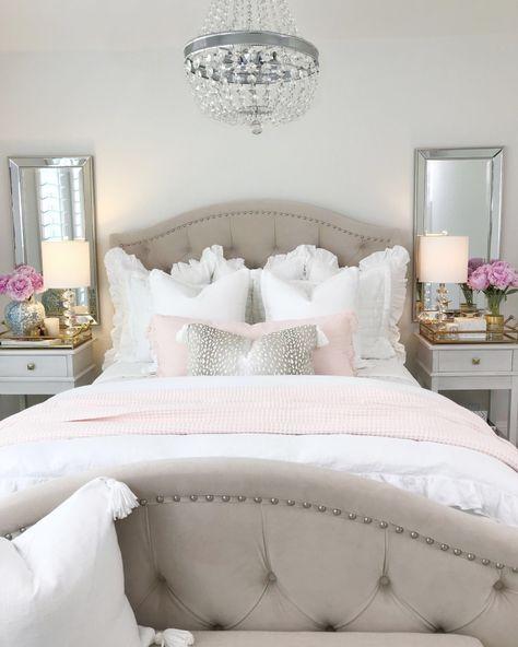 home decor habitacion Guest Bedroom: Summer Refresh The Decor Diet Pink Bedroom Decor, Glam Bedroom, Pink Bedrooms, Pretty Bedroom, Guest Bedrooms, Bedroom Colors, Home Bedroom, Modern Bedroom, Bedroom Ideas