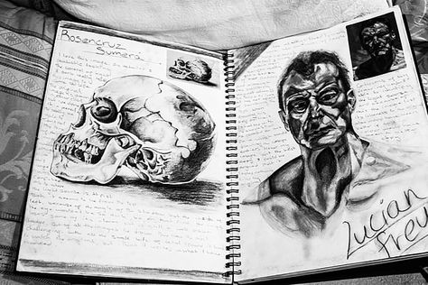 This AS Level Art sketchbook presentation again reminds us of what the essence of a quality sketchbook should be: quality drawings (image sources clearly shown), surrounded by unobtrusive, comprehensive annotation. A simple yet striking black and white sketchbook page.