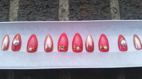 Hand made- Hot pink and rose gold chrome nails with accent nails. by NailedItbyAdri on Etsy