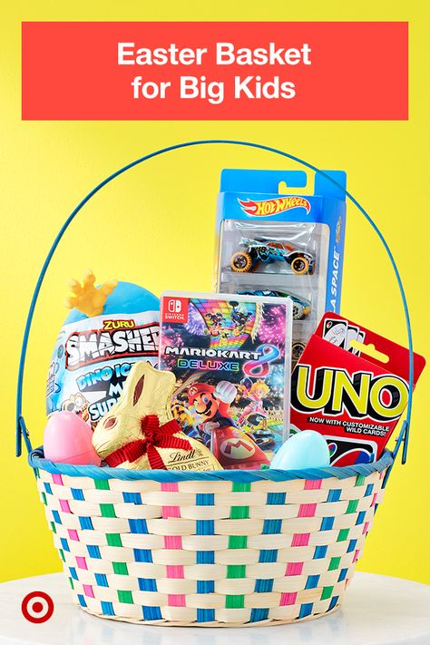For game-loving kids, create a perfect basket with UNO, Hot Wheels, Smashers, and a Mario Kart video game.
