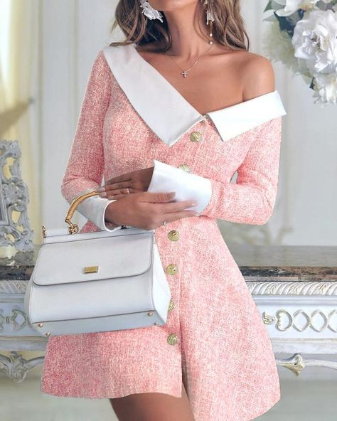 Contrast Color Single-Breasted Irregular Dress