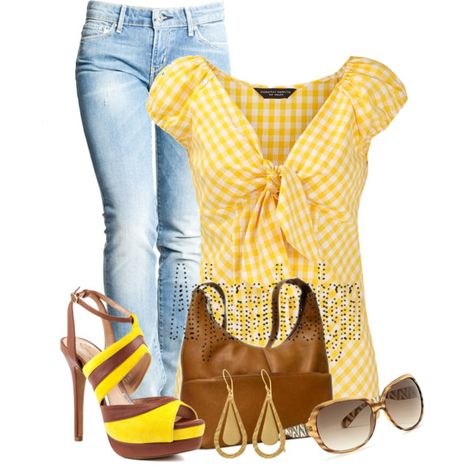 Yellow gingham stripe blouse, created by arjanadesign on Polyvore