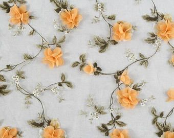 """1yard Lace Fabric  Pink Ivory Organza 3D Chiffon Rose Floral Embroidery 47"""" wide"""