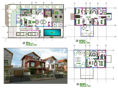 House Design With Swimming Pool And Garden Autocad File Swimming Pools