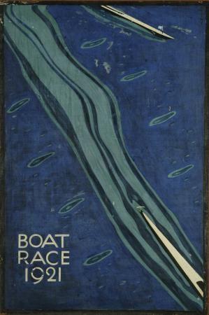 1921,Charles Paine Art Deco English Travel London Underground Poster Boat Race