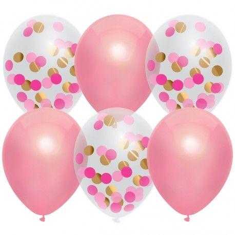 Betere Confetti ballonnen roze 6st | Jokershop.be - Feestartikelen (met ZX-06