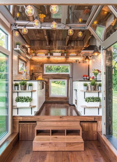 This is the gorgeous Kate by Tiny House Building Company that's for sale! The inside of this tiny house on wheels is absolutely stunning. The home features two queen-sized lofts accessible by… Alpha Tiny House, Tiny House Talk, Best Tiny House, Modern Tiny House, Tiny House Living, Tiny House Plans, Tiny House Design, Tiny House On Wheels, Bus Living